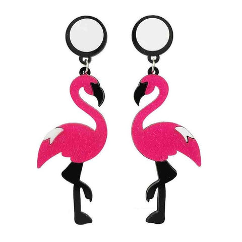 hip hop style red acrylic flamingo large drop earrings