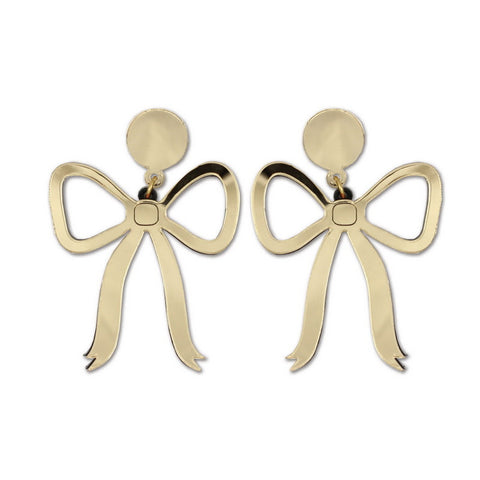 exaggerated gold acrylic bowknot stud earrings for women