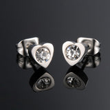 micro pave zircon heart stud earrings