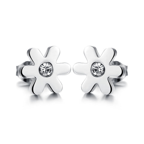 flower mosaic zircon stainless steel earrings for women