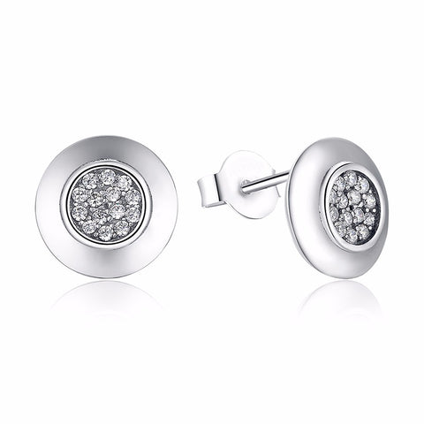 silver color round stud with clear cz earrings