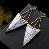 hip hop style natural stone drop earrings for women