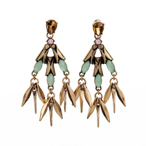 statement gem tassel pendant earrings