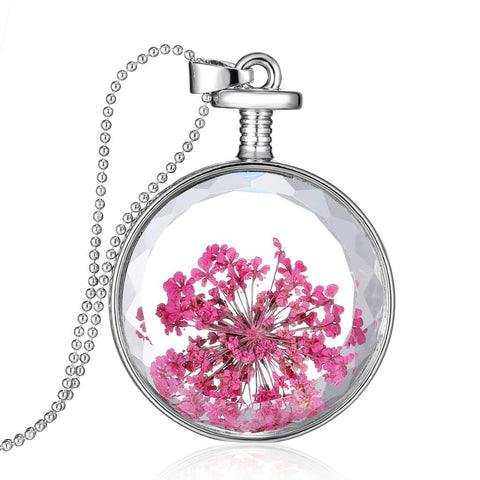 dried flowers glass round pendant necklace