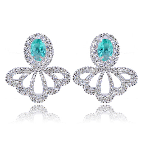 crystal cz silver color elegant earrings for woman