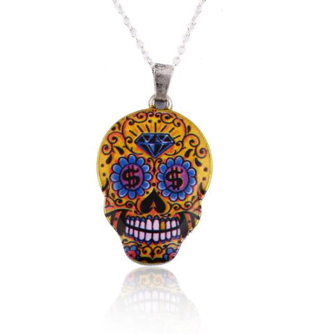 colorful skull pendant silver color necklace for women