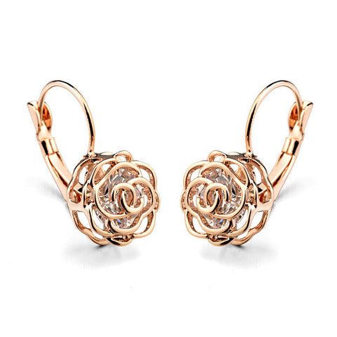 elegant rose flower earrings for women