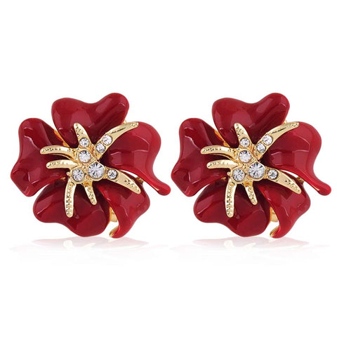 classic design gold color flower earrings
