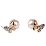 elegant butterfly pearl & crystal rhinestone stud earrings