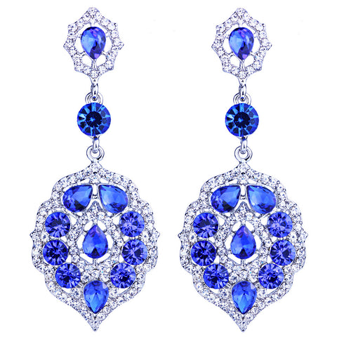 elegant full rhinestones leaf shaped pendant drop earrings