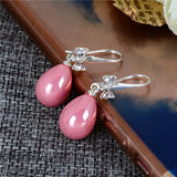 trendy water drop simulated pearl with bowknot earrings