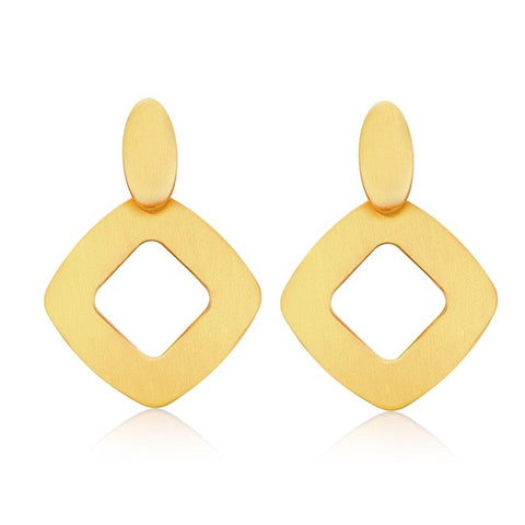 big stainless steel gold color stud earrings for women