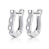elegant silver plated rhinestone stud earrings