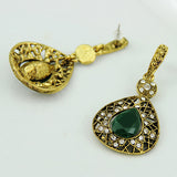 vintage style green crystal drop dangle earrings