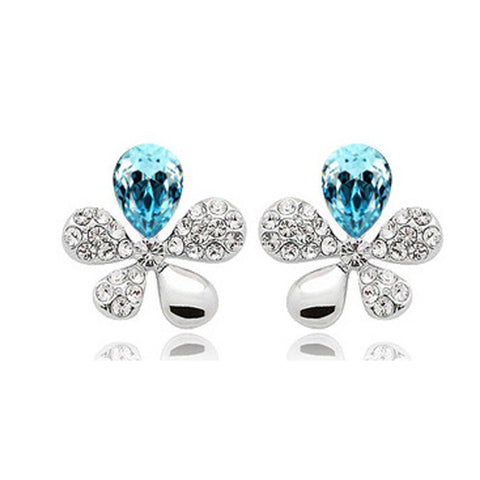 elegant crystal flower earrings for women