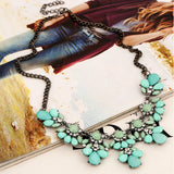 resin statement crystal flower bib choker necklace
