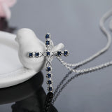 silver plated crystal cross elegant necklace for women