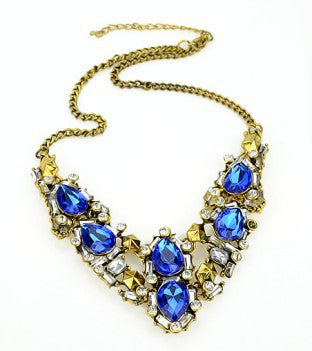 blue rhinestone gold color choker necklace for women