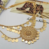 hollow out big flower round tassel pendant necklace for women