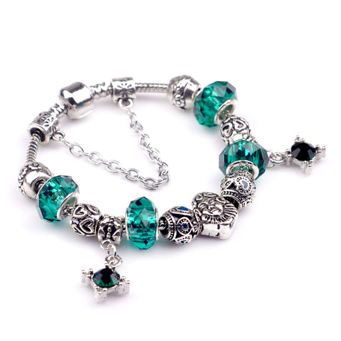 silver color chain green beads charm bracelet for women