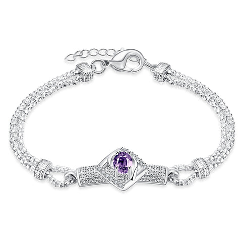 elegant sterling silver with purple cz bracelet