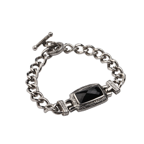 natural stone black agate stainless steel chain link bracelet