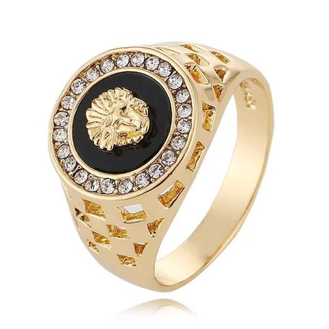 gold color cz stone medusa head ring for man