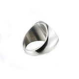 hip hop titanium steel round signet ring for men