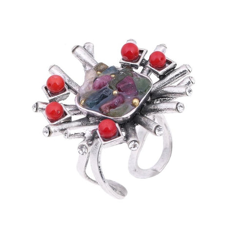 red nature stone flower ring for women