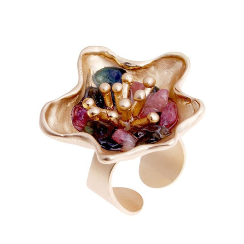multicolor nature stone flower ring for women