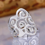 sterling silver with crystal stone hollow flower ring