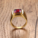 gold color stainless steel with red stone ring for men