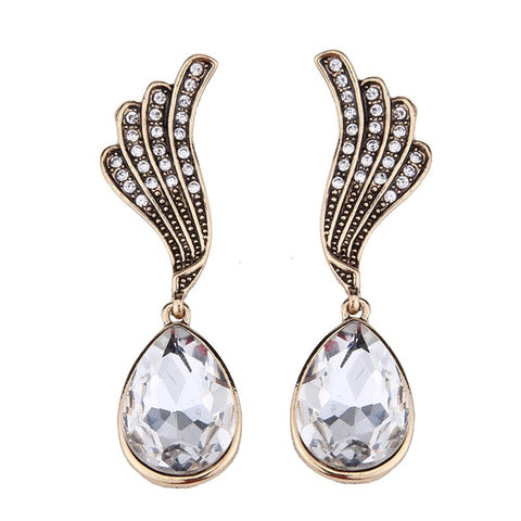 vintage crystal wings & big gem drop earrings for women