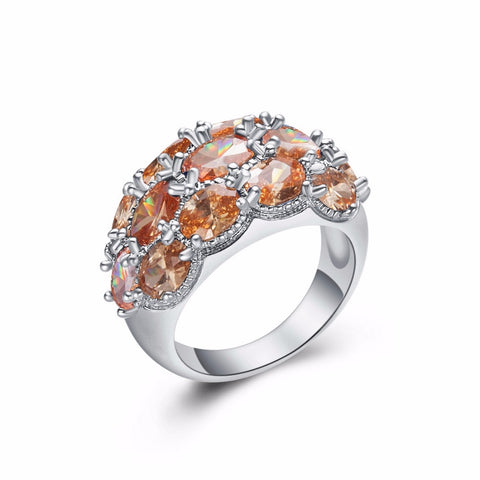 silver plated cz crystal ring for women