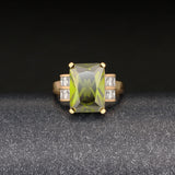 square green stone gold color rings for women