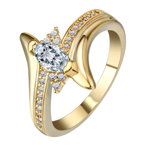 gold color oval crystal cz stone ring for women