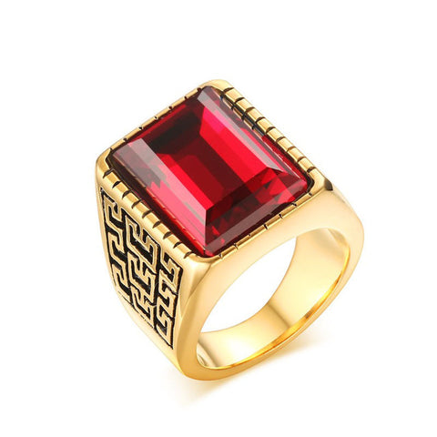 greek pattern big stone stainless steel ring for men