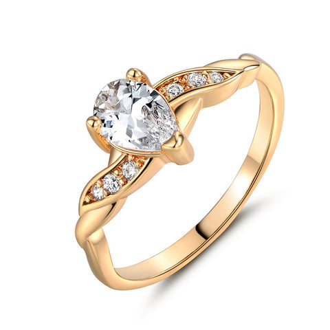 gold color cz stone ring for women