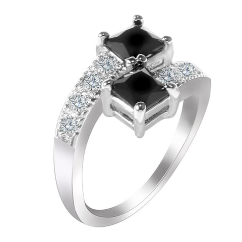 silver plated twin cz black stone crystal ring