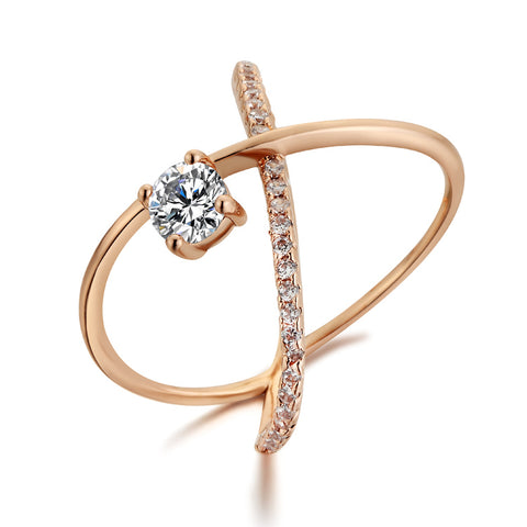 rose gold color big stone cross ring for women
