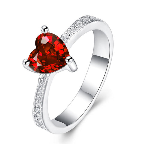 classic silver plated heart crystal red stone ring