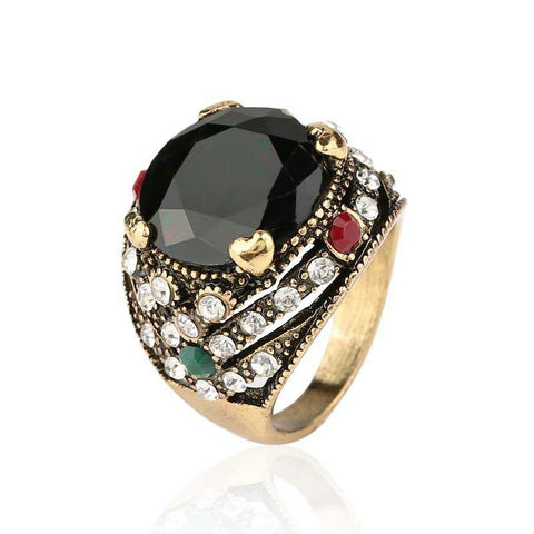 ancient gold color big black resin stone ring