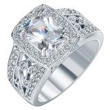 elegant silver plated white stone ring for women