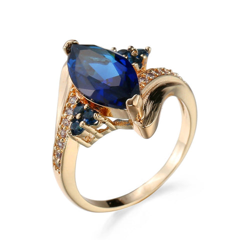 luxury blue zircon gold color big stone ring for women