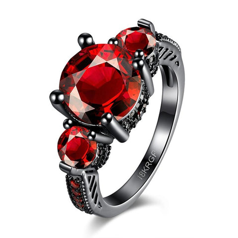 red zircon stone ring for women