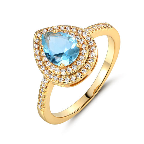 light blue crystal with cubic zirconia stone ring