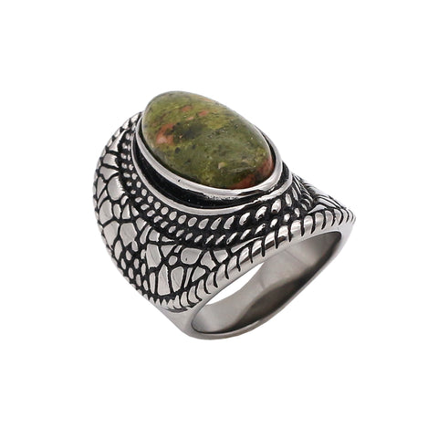 antique natural stone stainless steel ring for women