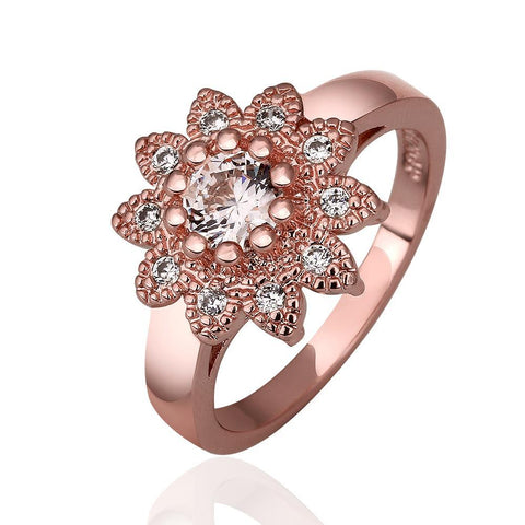 flower cubic zircon stone ring for women