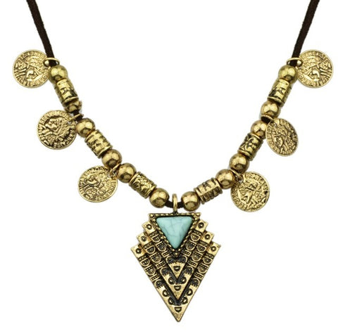 antique gold color with blue stone coin pendant necklace