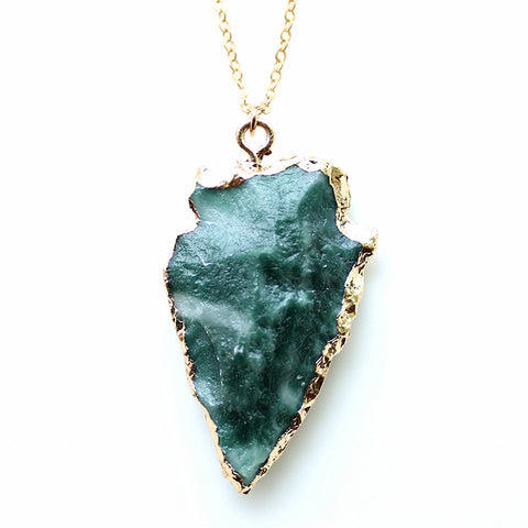 green natural druzy stone pendant necklace